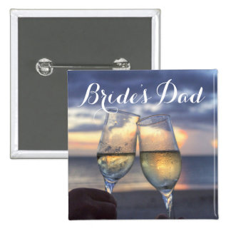 Sunset On The Beach Bride's Dad Wedding Buttons