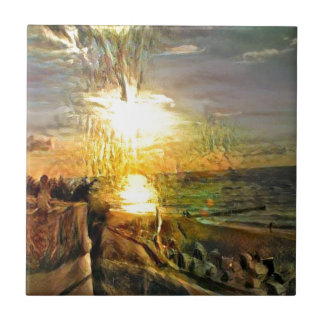 Sunset on the Beach Ceramic Tile