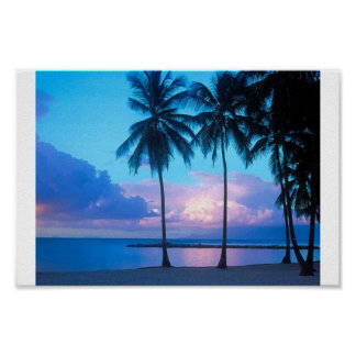 Sunset on the beach poster