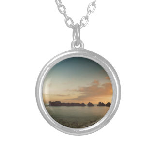Sunset on the beach round pendant necklace