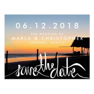 Sunset on the Beach Wedding Save the Dates Postcard