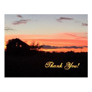 Sunset on the Farm- Thank You Postcard