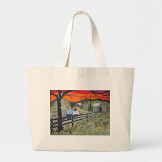 Sunset on the Fence Jumbo Tote Bag