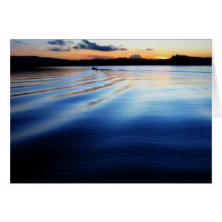 Sunset on the lake greeting card