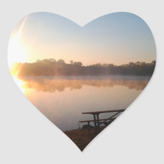 Sunset On The Lake - Heart Sticker