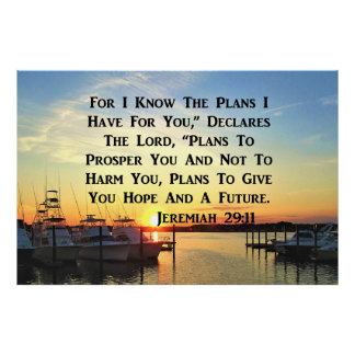 SUNSET ON THE LAKE JEREMIAH 29:11 POSTER