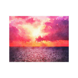 Sunset on the Ocean Canvas Print