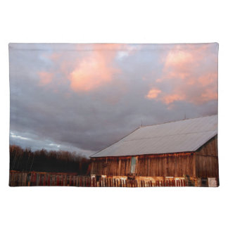 Sunset on the old barn placemat