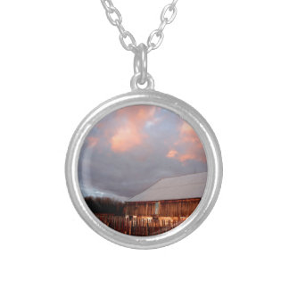 Sunset on the old barn silver plated necklace