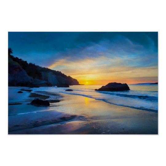 Sunset on the Pacific at China Beach San Francisco Poster