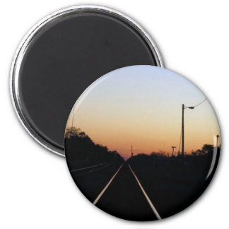 """Sunset on the Rails"" magnet"