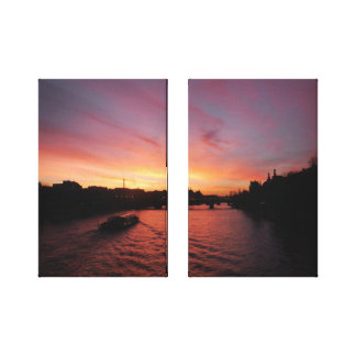 Sunset on the River Seine Canvas Print