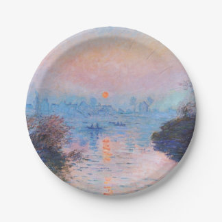 Sunset on the Seine at Lavacourt (Winter Effect) Paper Plate