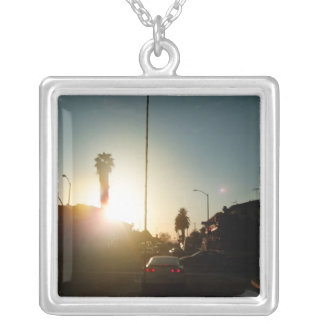 Sunset On The Street Square Pendant Necklace
