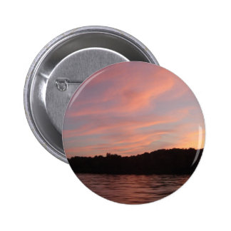sunset on the water 6 cm round badge