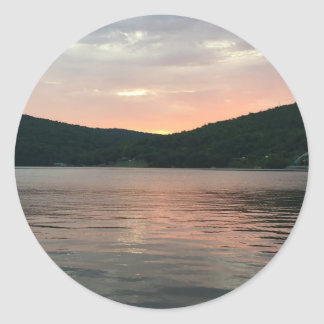 Sunset On The Water Classic Round Sticker