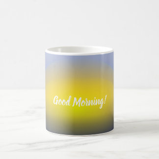 Sunset on the water print with blues & yellow coffee mug