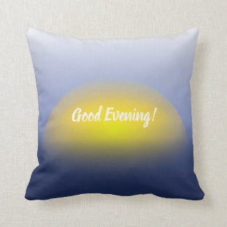 Sunset on the water print with blues & yellow. cushion