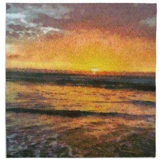 Sunset on water napkin