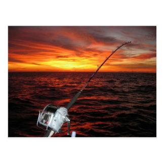 Sunset Open Sea Fishing Postcard