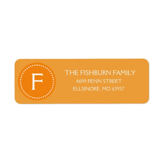Sunset Orange Muted Monogram Custom Monogrammed Return Address Label