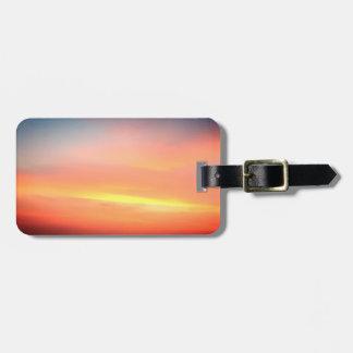 Sunset Orange Sky Luggage Tag Leather Strap