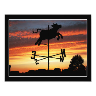 """Sunset Over a Cow Weather Vane 4.25"""" X 5.5"""" Invitation Card"""