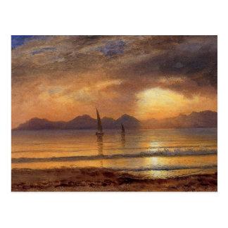 Sunset over a Mountain Lake - Albert Bierstadt Postcard