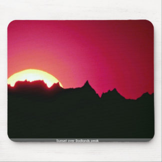 Sunset over Badlands peak Mouse Pads
