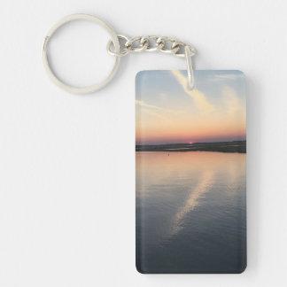 Sunset Over Bay - Double-sided Keychain, Rectangle Double-Sided Rectangular Acrylic Key Ring