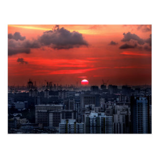 Sunset over Chinatown area in Singapore Postcard