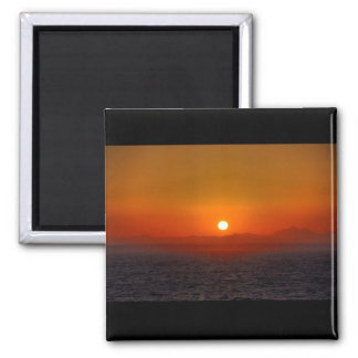 Sunset over Egyptian mountains Square Magnet