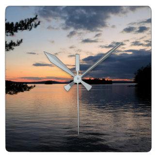 Sunset Over Fire Island Millinocket Lake Maine Square Wall Clock
