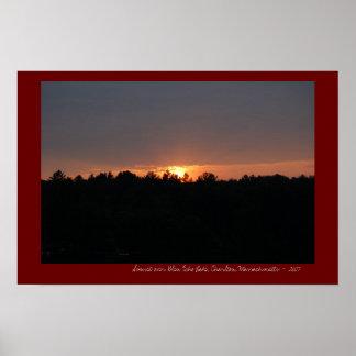 Sunset over Glen Echo Lake, Charlton, MA Poster
