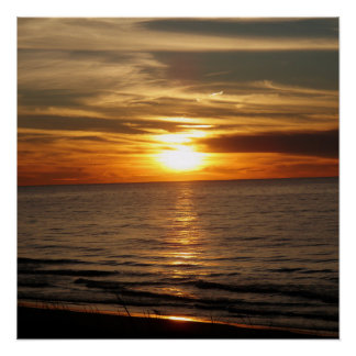 Sunset Over Lake Huron Poster