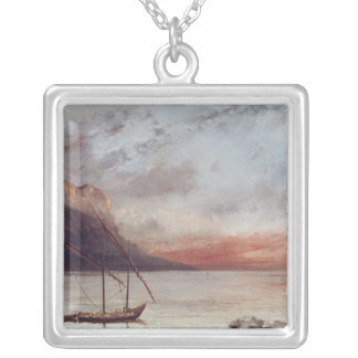 Sunset over Lake Leman, 1874 Silver Plated Necklace