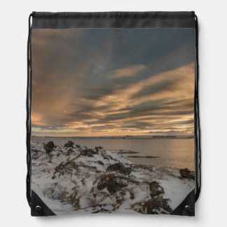 Sunset over lake Myvatn, Iceland Drawstring Bag