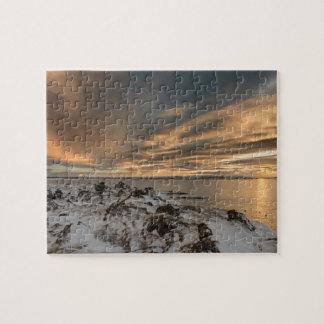 Sunset over lake Myvatn, Iceland Jigsaw Puzzle