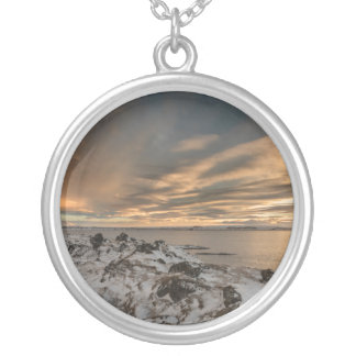 Sunset over lake Myvatn, Iceland Silver Plated Necklace