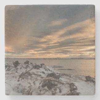 Sunset over lake Myvatn, Iceland Stone Coaster