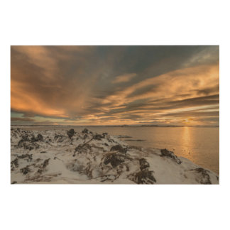 Sunset over lake Myvatn, Iceland Wood Print