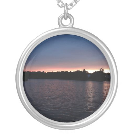 Sunset Over Lake Swan, Georgia Personalized Necklace