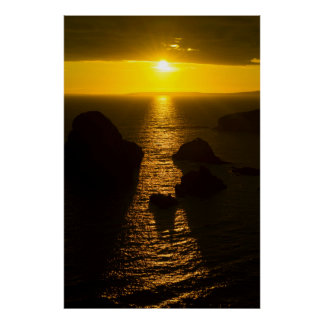 sunset over loop head county clare poster