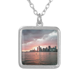 Sunset over Miami Silver Plated Necklace