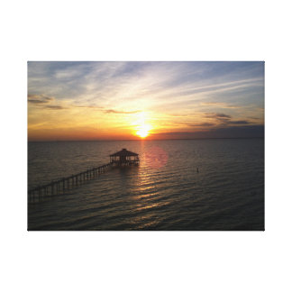 Sunset over mobile bay Alabama from eastern shore Canvas Print