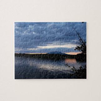 Sunset Over Mount Katahdin Millinocket Lake Maine Jigsaw Puzzle