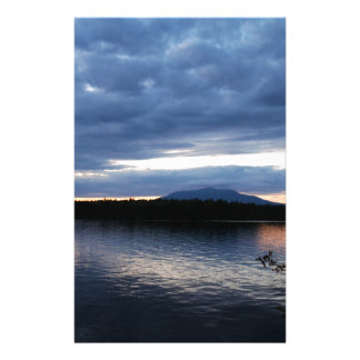 Sunset Over Mount Katahdin Millinocket Lake Maine Stationery