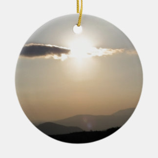 Sunset over mountains ceramic ornament