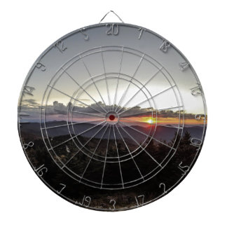 sunset over mountains dart board