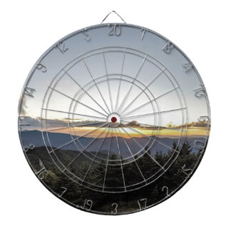 sunset over mountains dartboard
